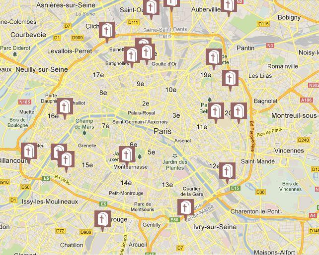 Carte des cimetières parisiens