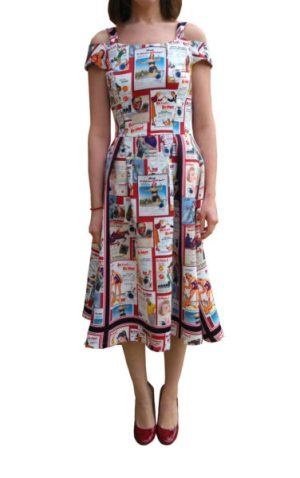 Vintage pin-up print Bardot dress