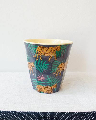 Panter print, medium melamine beker - Rice