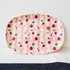 Kersen print rechthoekig melamine bord - Rice
