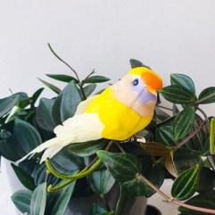 Decoratie vogel geel