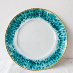 Porseleinen dinerbord, blauwe glazuur print - Rice