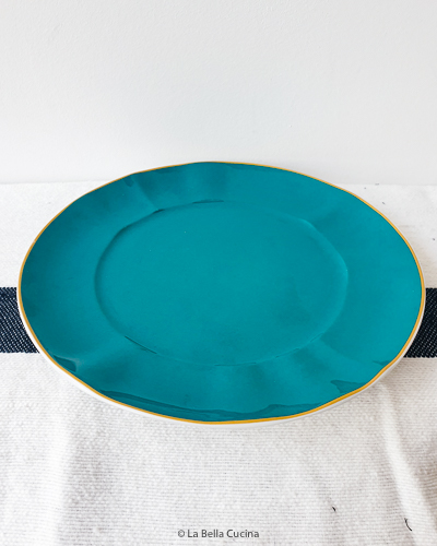 Porseleinen serveerbord, turqouise - Rice