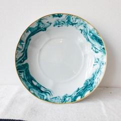 Diep porseleinen bord, blauwe glazuur print - Rice