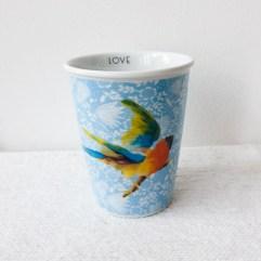 Porseleinen beker, vogel print - Rice