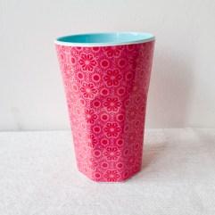 Roze bloemen print, grote melamine beker - Rice