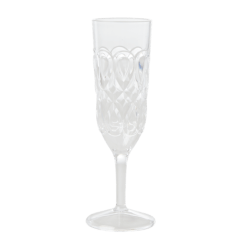 Acrylic Champagne Glass with Swirly Embossed Detail, Clear - Rice
