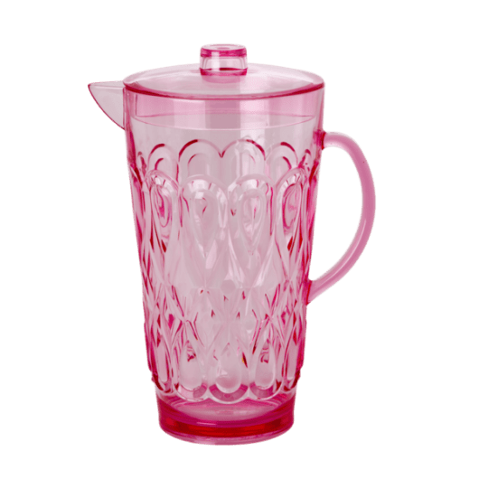 Acrylic Jug with Swirly Embossed Detail - Pink - Large