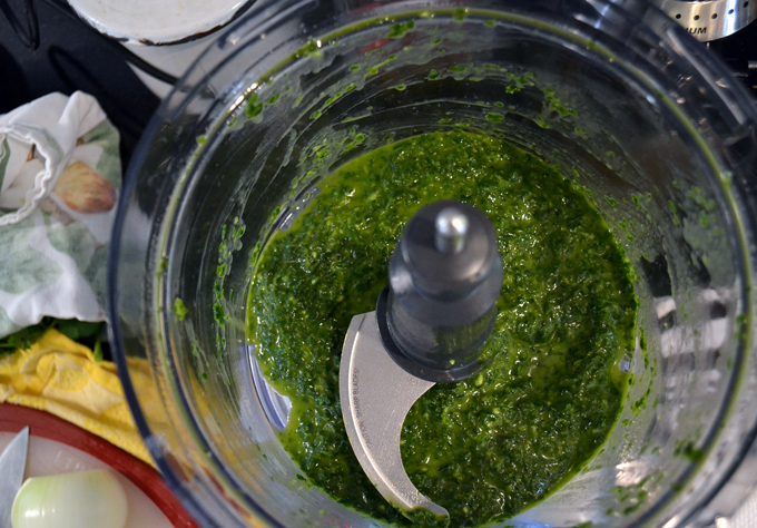 The perfect consistency for basil paste to flavor Summer Vegetable Soup | labellasorella.com