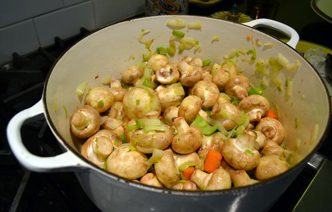 Developing layers of flavor for Creamless Mushroom Soup | labellasorella.com