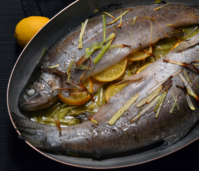Roasted Trout with Lemon & Leeks | labellasorella.com