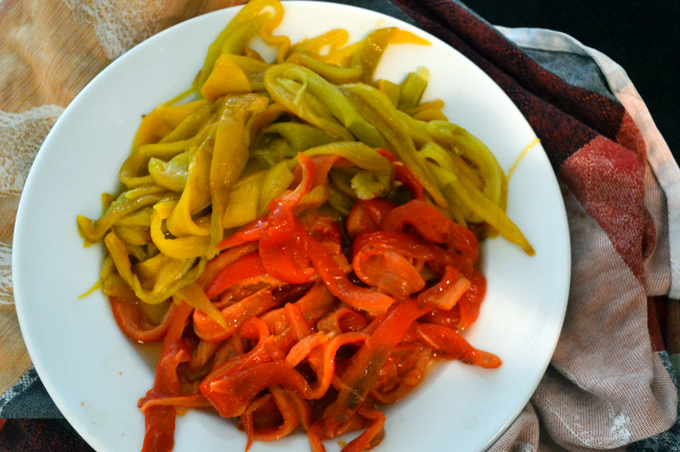The roasted gypsy peppers peeled and cut into strips | labellasorella.com