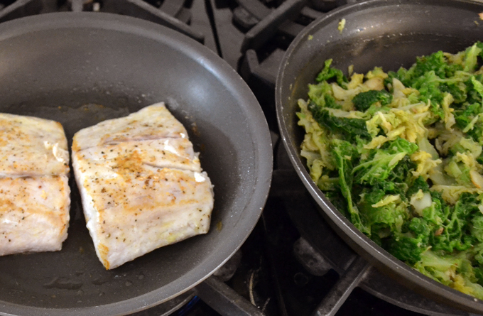 Searing the fish as the cabbage is being kept warm | labellasorella.com