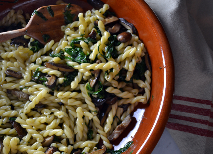 Gemelli with Greens & Mushrooms | labellasorella.com