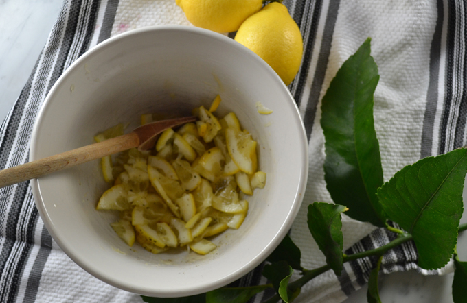 Marinating the lemon segments | labellasorella.com