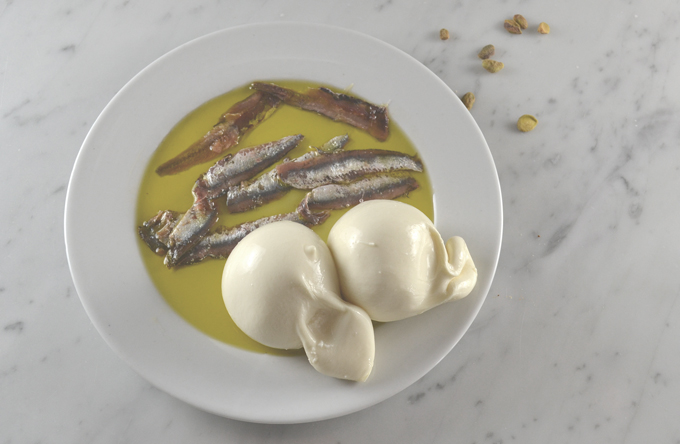 Briefly marinating the anchovy fillets in evoo | labellasorella.com