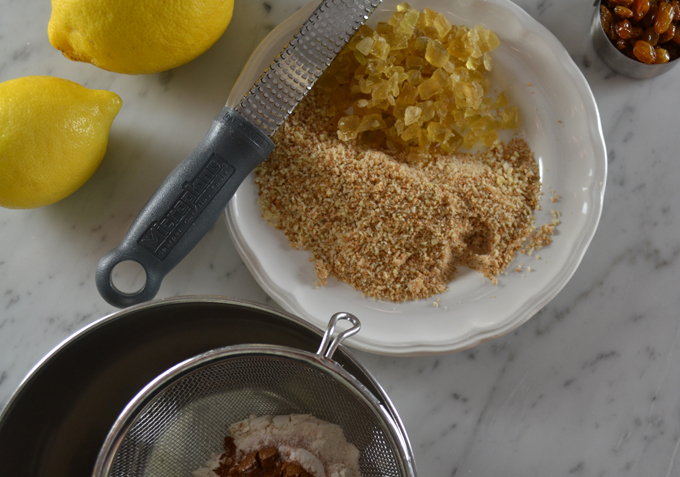 Candied citron, grappa soaked rasisins , lemon peel, ground almonds & amaretti   labellasorella.com