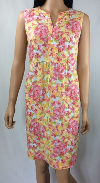 2abc33bef255e9 J. Jill Love Linen Multi-Colored Shift Dress Floral Print Sleeveless Sz PM