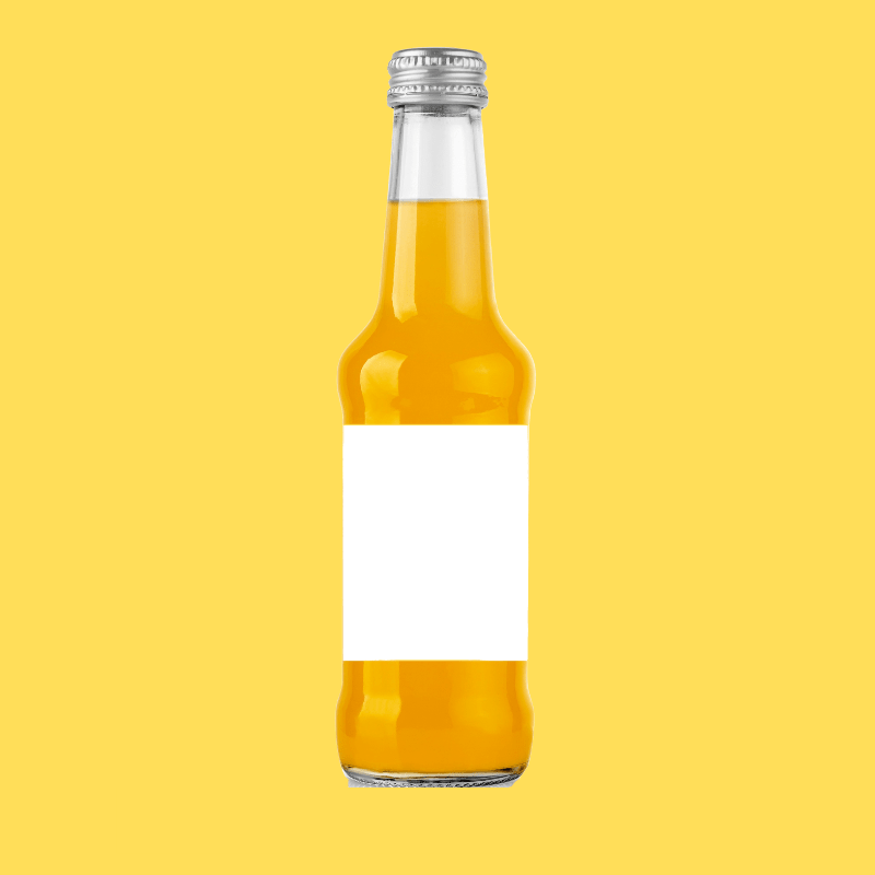 orange juice in glass bottle without label