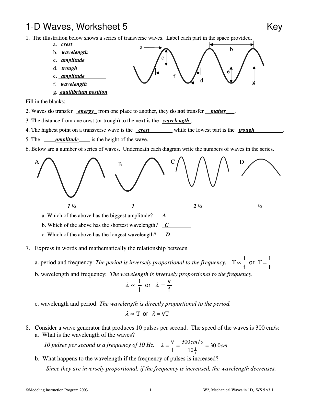 Worksheet Labeling Waves Answers 1