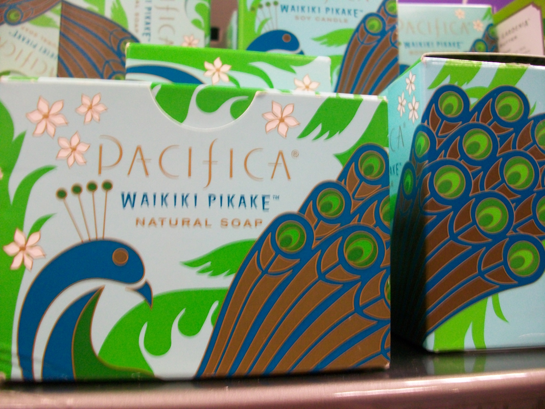 A peacock pattern on soap packaging