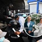 Los policías que mataron pareja son trasladados sin esposas y ocultando sus rostros