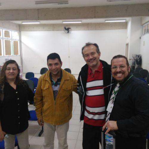 Dra Vera Lúcia do Grupo de Robótica, Pedagogo Paulo Osni, Prof. Adilson Poggiato e Dr. Alexandre Maniçoba do Labmax.