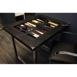 table-de-backgammon-cuir-imprime-crocodile-noir