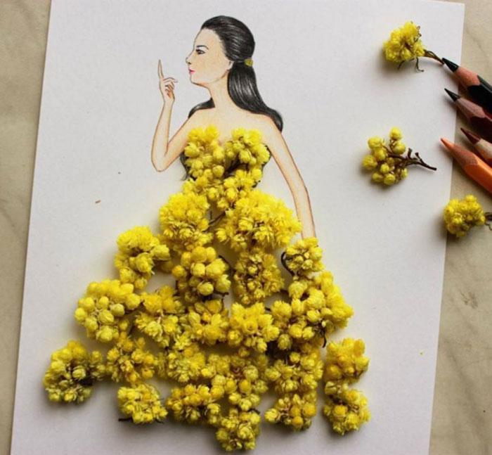 Edgar Artis e un ilustrador de moda armenio, crea preciosos bocetos de vestidos utilizando como herramientas: papel, lápices de colores,  tijeras y objetos del día a día: edificios, comida, plantas, pétalos. De este modo crea estampados únicos, originales y con vida propia.