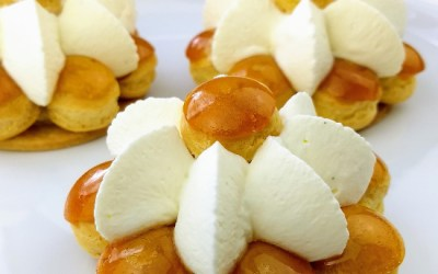 St. Honoré Cream Puff Cakes with Diplomat Cream & Caramel
