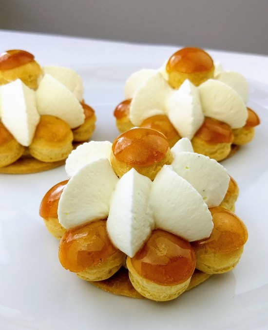 St. Honoré Cream Puff Cakes with Diplomat Cream & Caramel