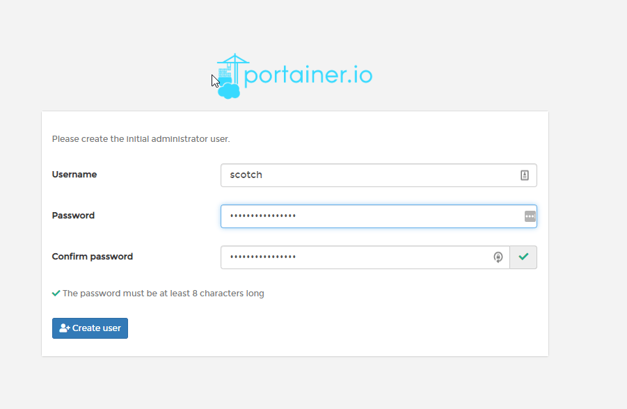 Portainer Create login