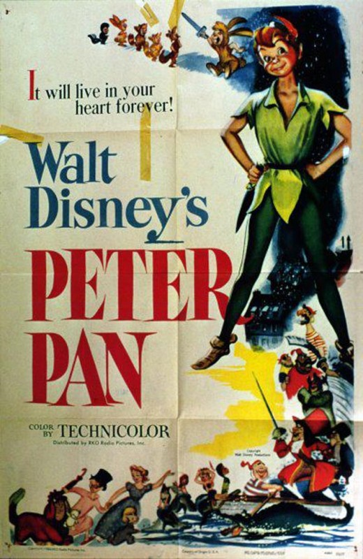 1953 Peter Pan Poster 520x800 Les affiches des 53 films Disney de 1937 à 2013 design cinema 2 art