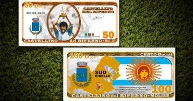 Así son las monedas y los billetes de Maradona que acuñaron en Italia