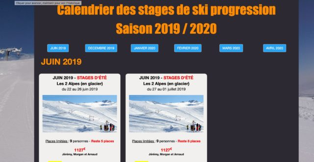 Calendrier des stages de ski progression 2019/2020 - Mise en ligne