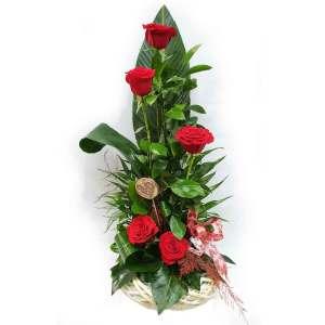 centro 6 rosas rojas amor