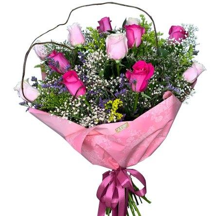 "Ramo de 12 Rosas ""Pink"""