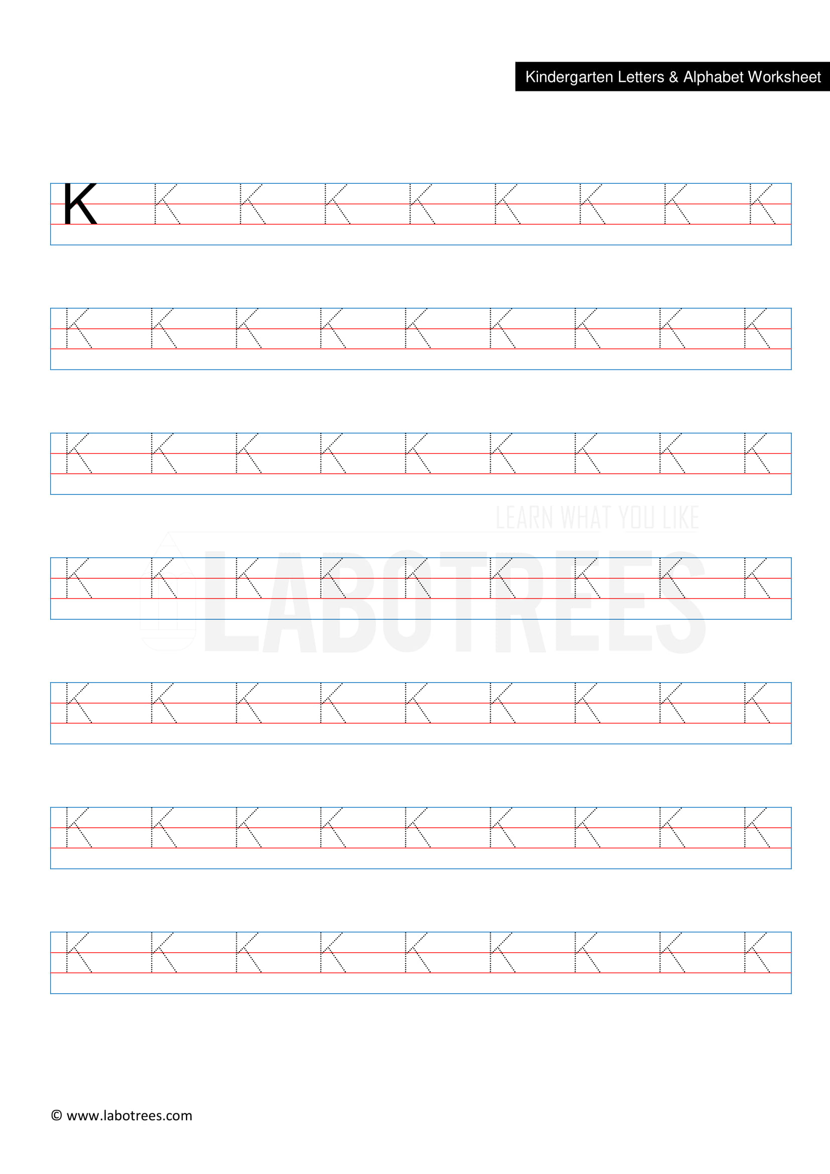 Worksheet Of Letter K Uppercase Free Download