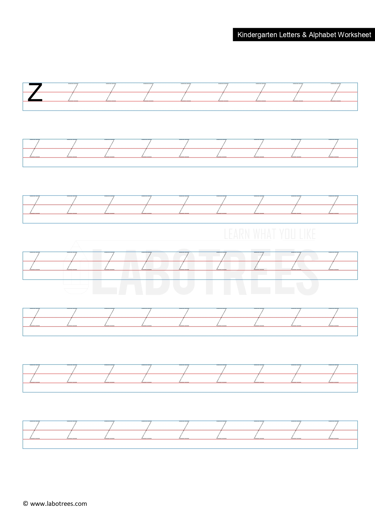 Worksheet Of Letter Z Uppercase Free Download