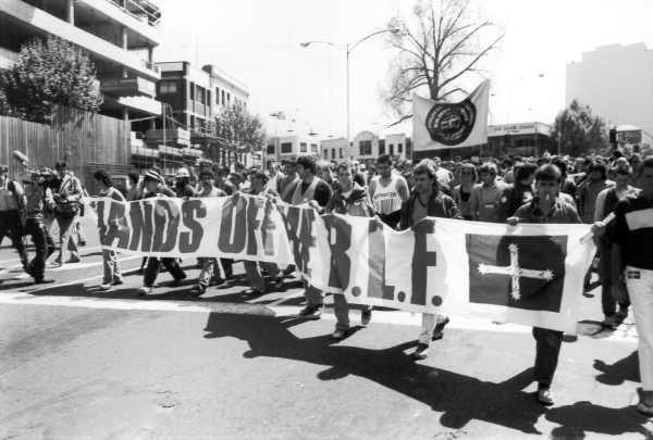 BLF demonstration during ALP campaign to deregister the BLF, Melbourne, October 1987 by Ruth Maddison