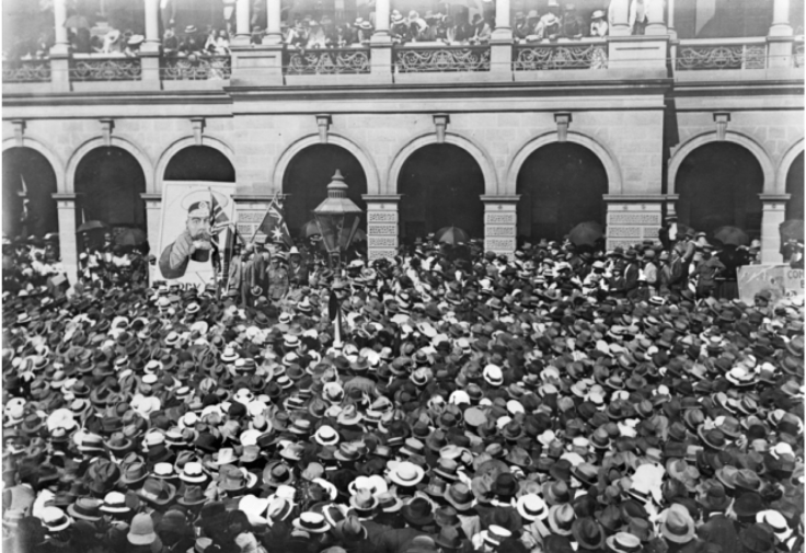W.M. Hughes speaking at a pro conscription rally, c. 1916 http://www.awm.gov.au/collection/H02151/