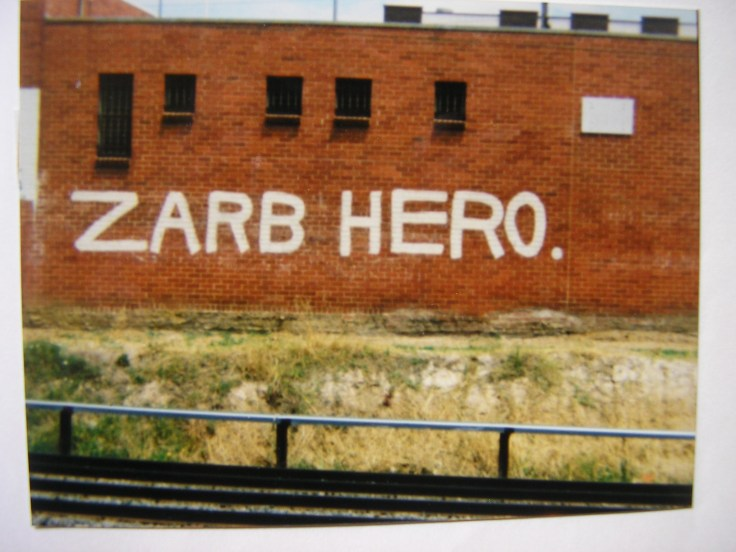October 1968 graffito protesting gaol sentence of Melbourne conscientious objector John Zarb - photo K.Mansell Glenferrie (Melbourne) 1982