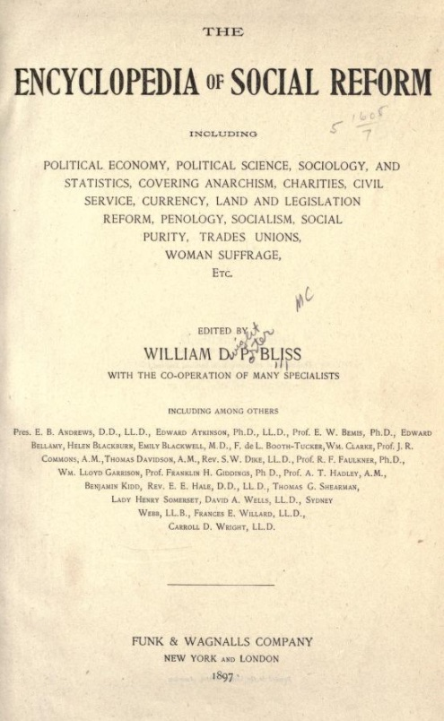 Encylopedia of Social Reform, 1897