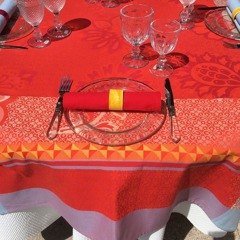 nappe rectangulaire jacquard ribeauville rouge jaune tissus toselli laboutiquedelea