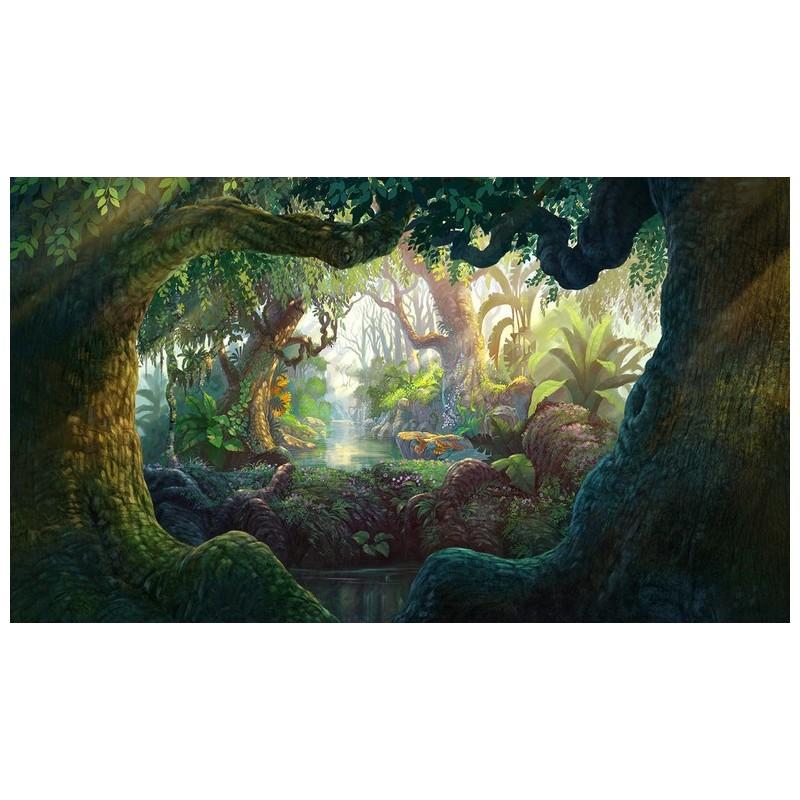 Papier Peint Photo Personnalis Paysage Fantaisie Dans La Jungle Papier Peint Sol 3D