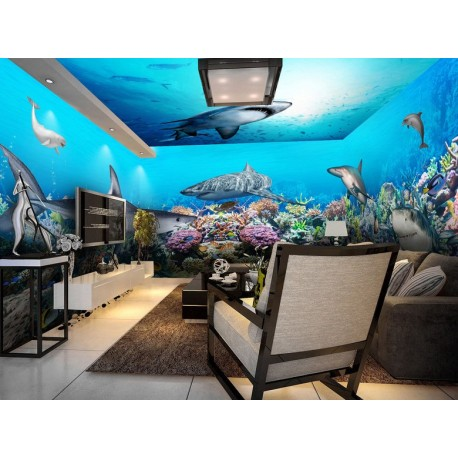Decor Panoramique 4 Murs Paysage Fond Marin Requin Dauphin Atelier Wybo