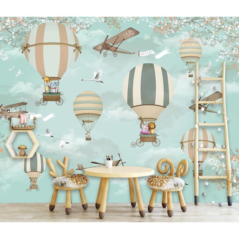 """Chambre enfant bordure b-10020 /""""ballon/"""" en montgolfière papier peint motif"""