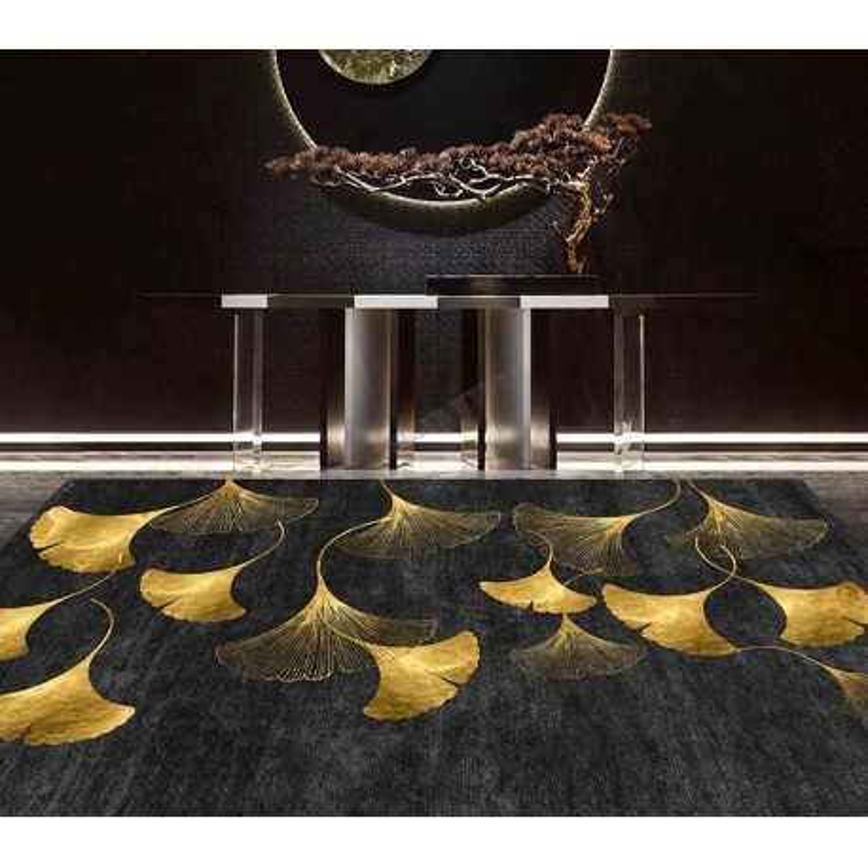 decoration sejour tapis luxe fait main feuille or fond noir atelier wybo