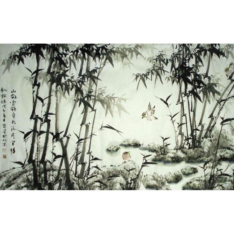 tapisserie numerique sur mesure style chinois paysage avec bambous et oiseaux en noir et blanc atelier wybo