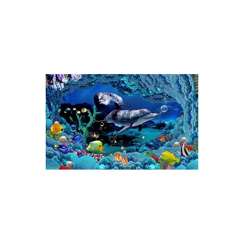 Papier Peint 3D Paysage Fond Marin Les Dauphins Tapisserie